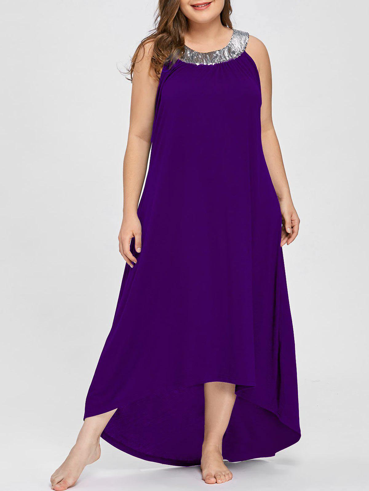 Store Plus Size Sequins Collar Sleeveless Maxi Dress