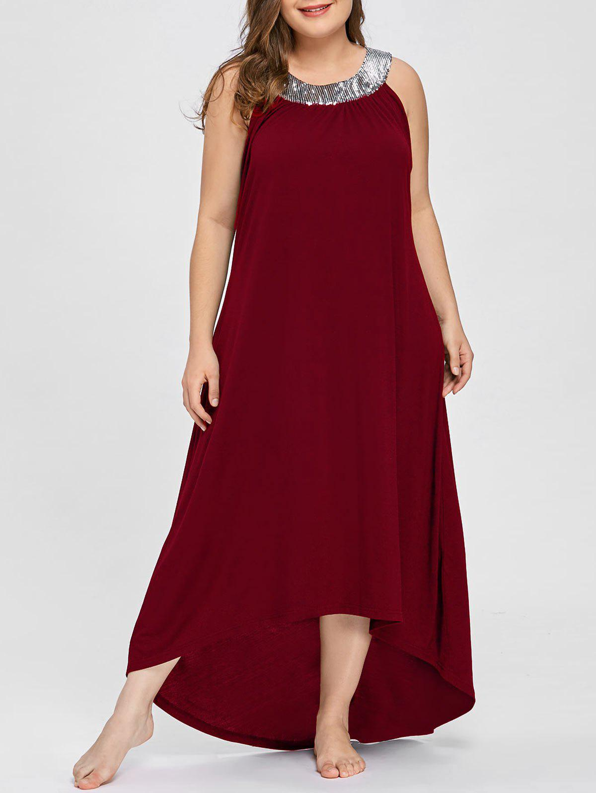 60593e9eec 48% OFF] Plus Size Sequins Collar Sleeveless Maxi Dress | Rosegal