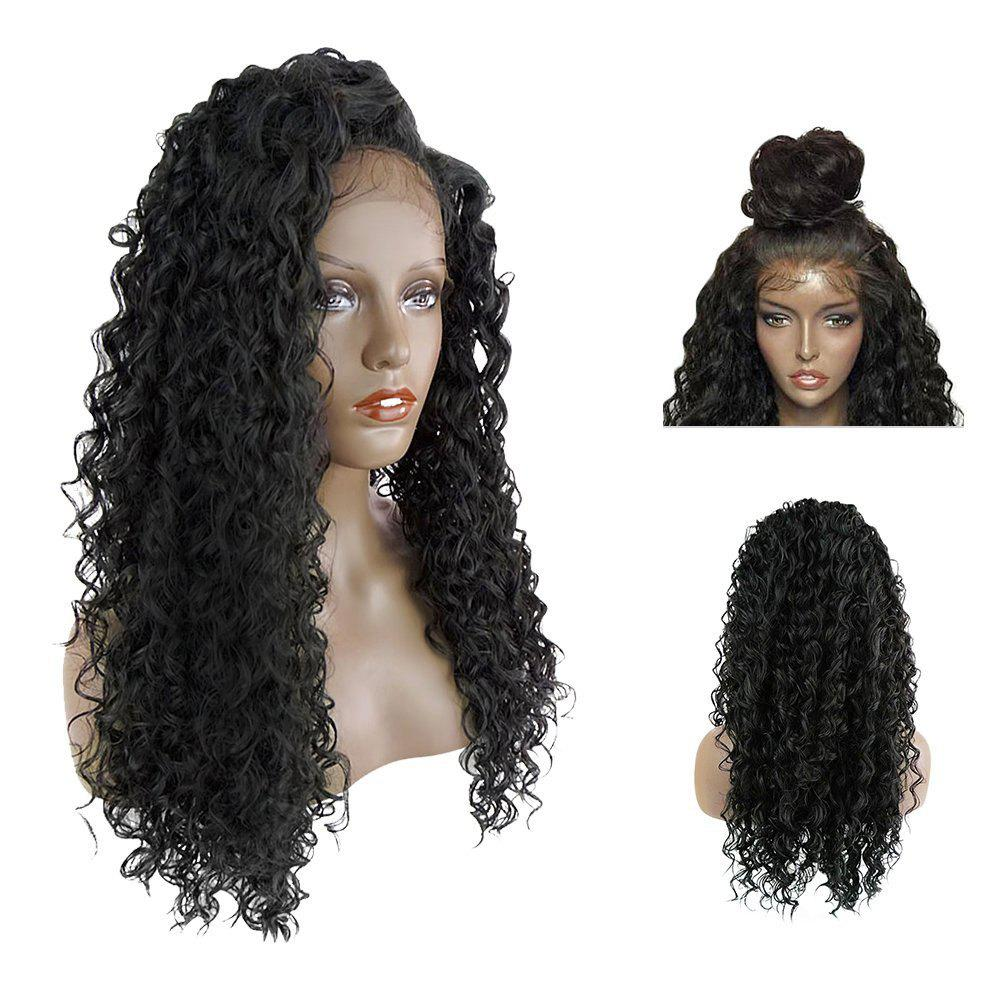 Buy Long Side Parting Fluffy Deep Wave Lace Front Synthetic Hair Wig