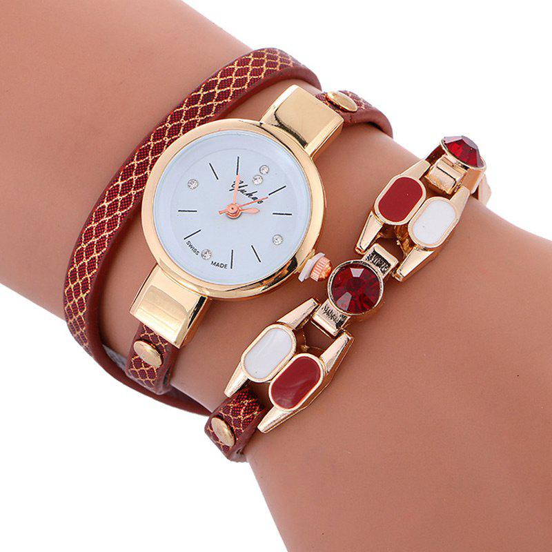 Store Quartz Faux Leather Wrap Bracelet Watch