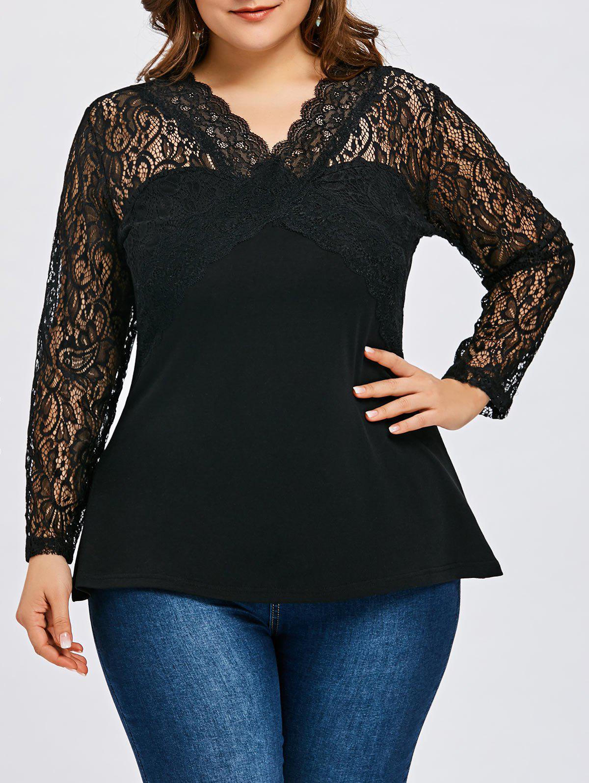 Best Plus Size V Neck Lace Panel T-shirt