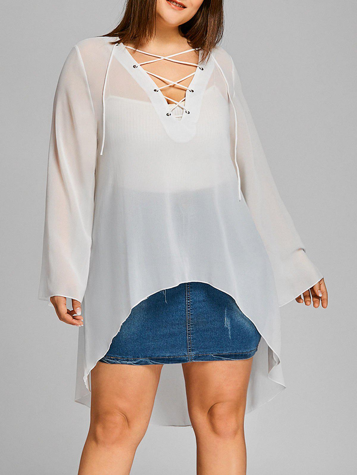Latest Plus Size High Low Lace Up Sheer Blouse