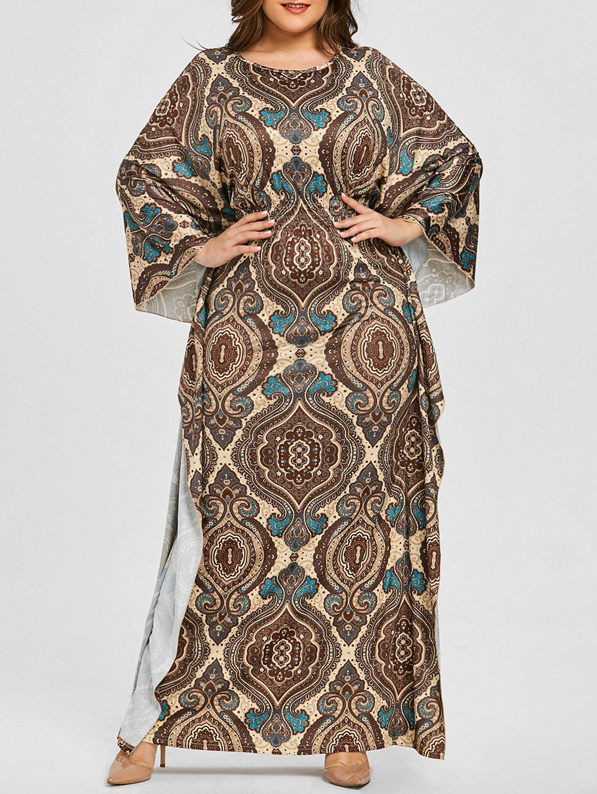 Fancy Plus Size Batwing Sleeve Ethnic Print Dress