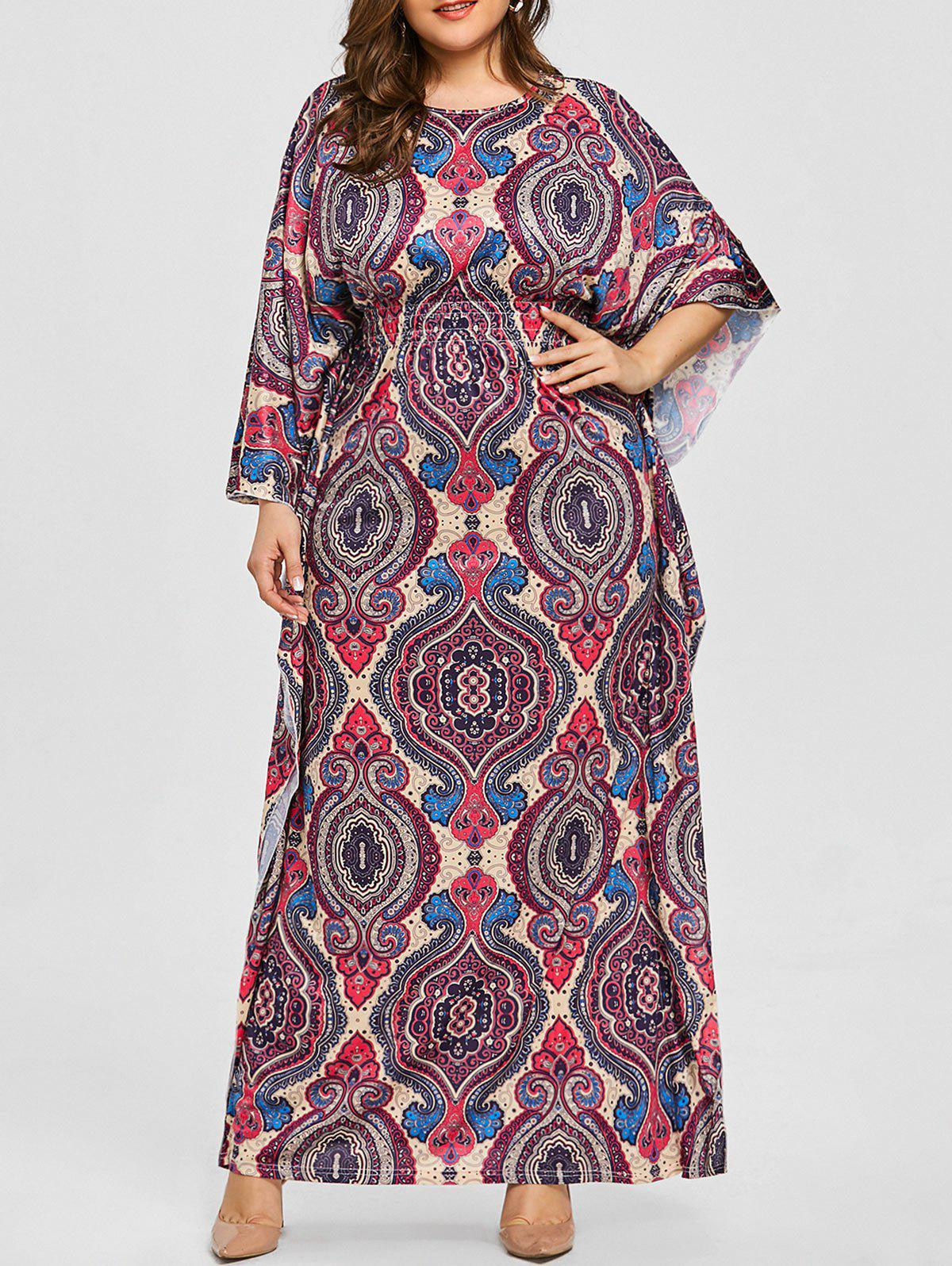 New Plus Size Batwing Sleeve Ethnic Print Dress