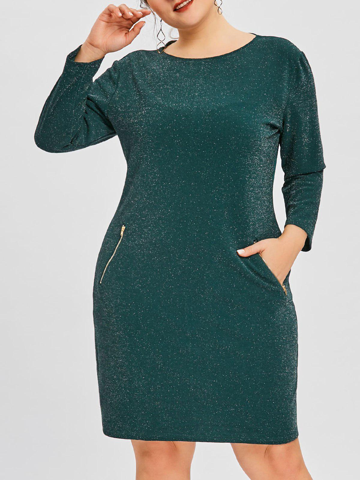 Store Glitter Plus Size Zipper Pockets Dress