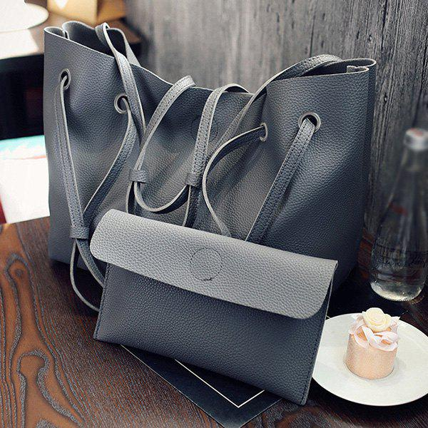 Outfits Magnetic Textured Leather Shoulder Bag