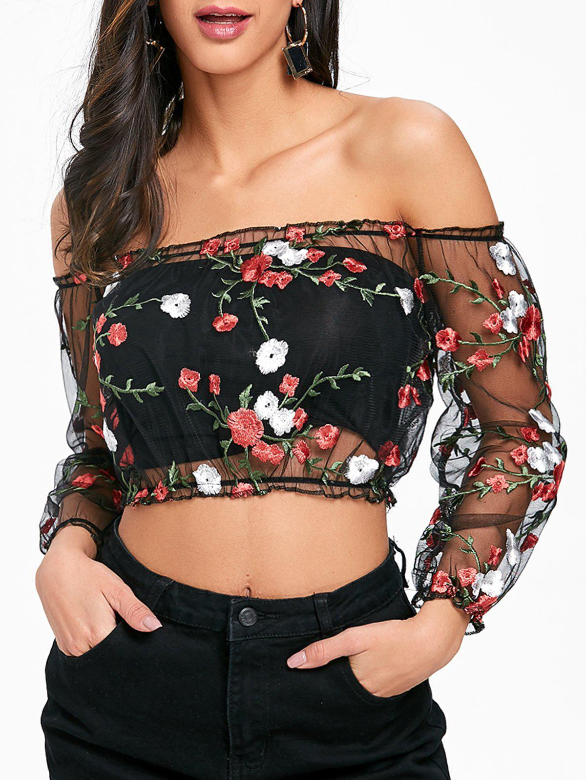 New Mesh Embroidered Off The Shoulder Crop Top