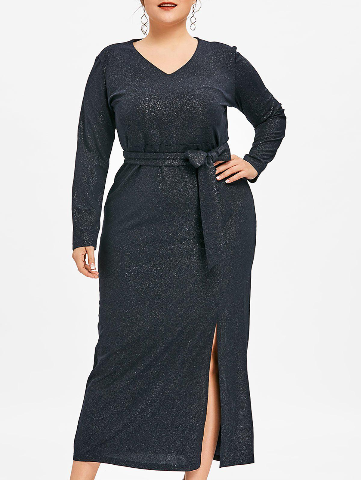 Affordable Plus Size Slit Glitter Maxi Dress