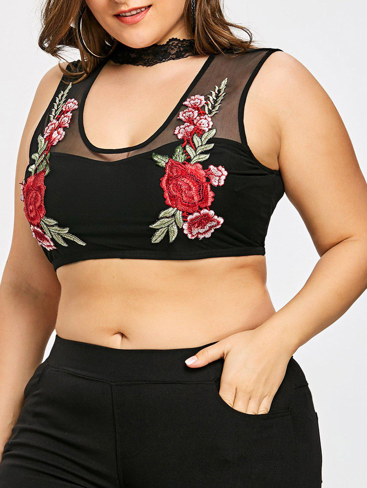 Cheap Plus Size Cut Out Embroidery Tank Top
