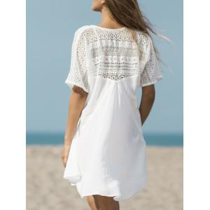 V Neck Openwork Beach Cover Up -