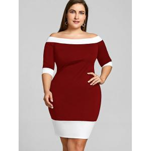 Color Trim Plus Size Off Shoulder Sheath Dress -