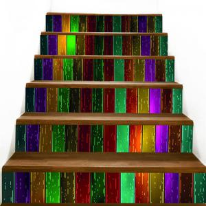 Colorful Woodgrain Pattern Decorative Stair Stickers -