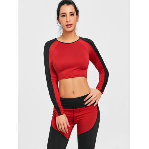 Raglan Sleeve Workout Crop Top -