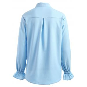 Plus Size Elastic Cuffs Floral Embroidered Shirt -