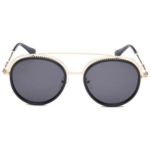 Unique Crossbar Hollow Out Pattern Decorated Round Sunglasses -