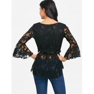 See Through Lace Bell Sleeve Blouse -