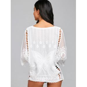 Butterfly Embroidery Mesh Batwing Cover Up -
