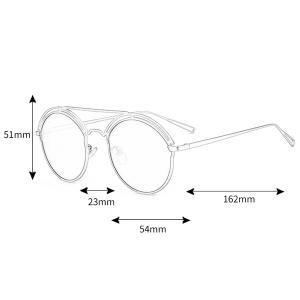 Unique Hollow Out Metal Full Frame Oval Sunglasses -