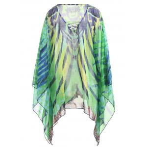 Plus Size Printed Lace Up Beach Cover Up -