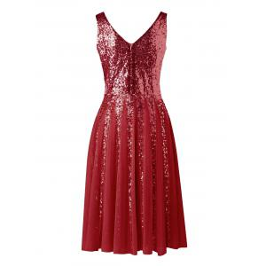 Sleeveless Sequined Chiffon Dress -