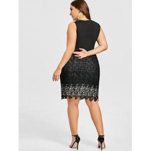 Plus Size Pleated Lace Trim Dress -