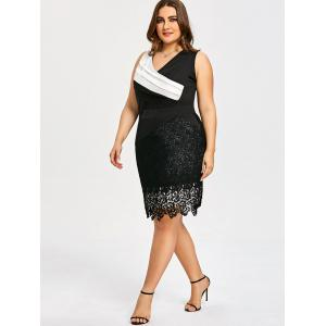 Plus Size Two Tone Pleated Dress -