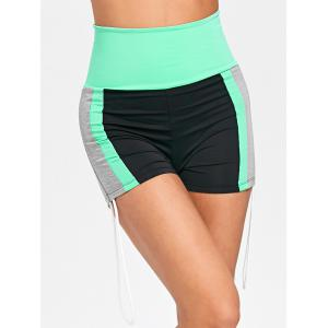 Color Block Side String Sports Shorts -