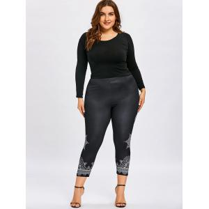 Plus Size Ethnic Print Ninth Leggings -