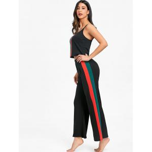 Striped Cami Top With Palazzo Pants Two Piece Outfits -