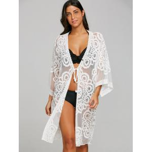See Thru Lace Embroidered Kimono Cover Up -