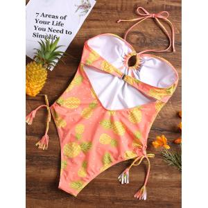 Pineapple High Cut Halter One Piece Swimsuit -