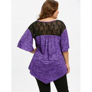 Plus Size Flare Sleeve Asymmetrical Tunic T-shirt -