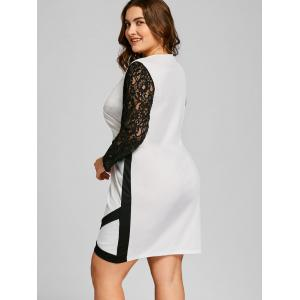 Plus Size Lace Trim Color Block Dress -