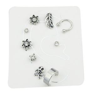Alloy Floral Stud Earring and Ear Cuff Set -