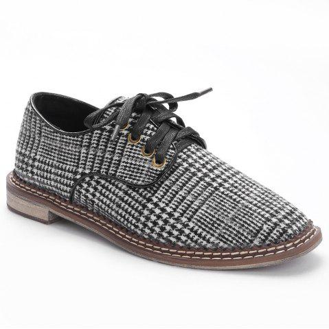 Low Heel Plaid Casual Shoes - BLACK - 36