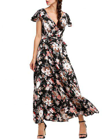 Hot Plunge Back Lace Up Floral Maxi Dress