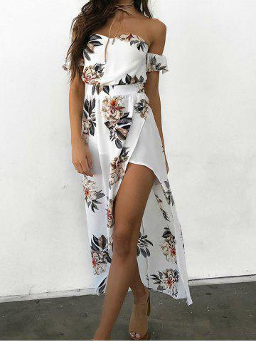 Strapless Slit Floral Printed Dress