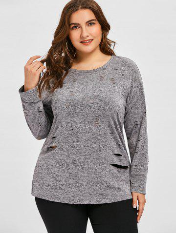 Plus Size Ripped Long Sleeve Tee