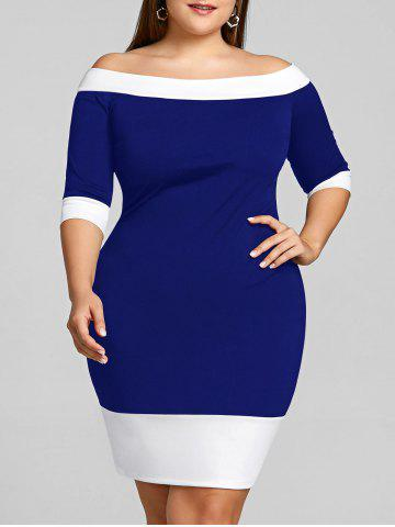 Trendy Color Trim Plus Size Off Shoulder Sheath Dress