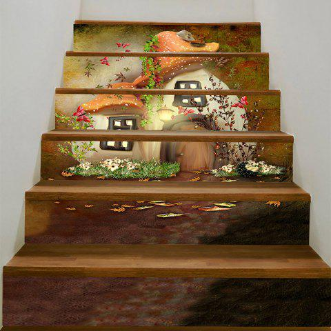 Shops Mushroom House Printed Stair Stickers