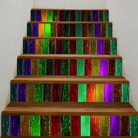 Chic Colorful Woodgrain Pattern Decorative Stair Stickers