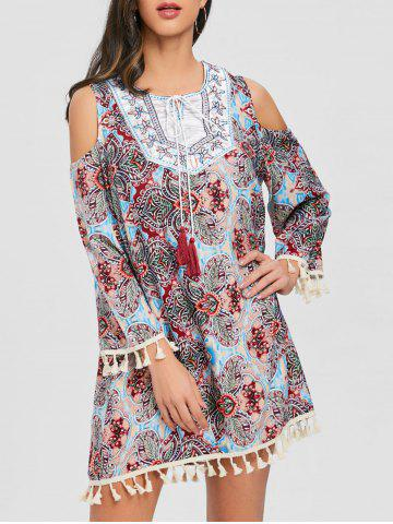 Best Open Shoulder Tassel Bohemian Print Dress