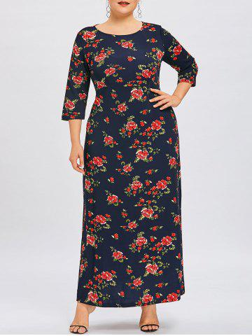 Discount Flower Print Plus Size Maxi Dress