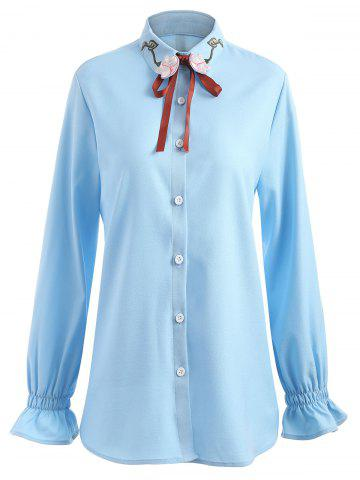 Cheap Plus Size Elastic Cuffs Floral Embroidered Shirt
