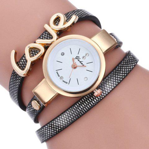 Любовь Faux Leather Wrap Bracelet Watch