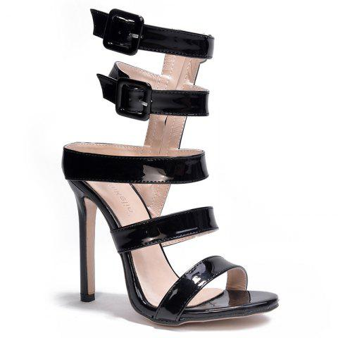 Fancy Patent Leather High Heel Gladiator Sandals