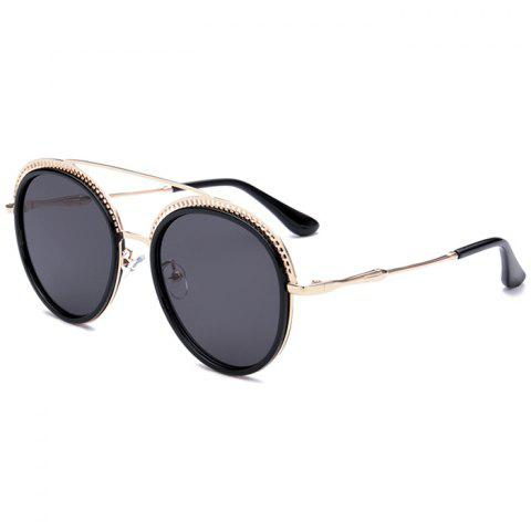 Buy Unique Crossbar Hollow Out Pattern Decorated Round Sunglasses