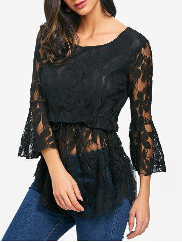 Cheap See Through Lace Bell Sleeve Blouse