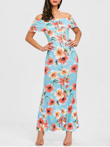 Outfits Ruffle Floral Off Shoulder Maxi Dress