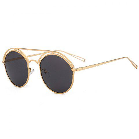 Trendy Unique Hollow Out Metal Full Frame Oval Sunglasses